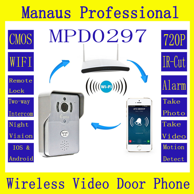 Wireless Intercom Doorbell One Click Phone 720P Outdoor IP Camera PIR Visual Door Ring 64GB TF Card WIFI Video Door Phone D297A
