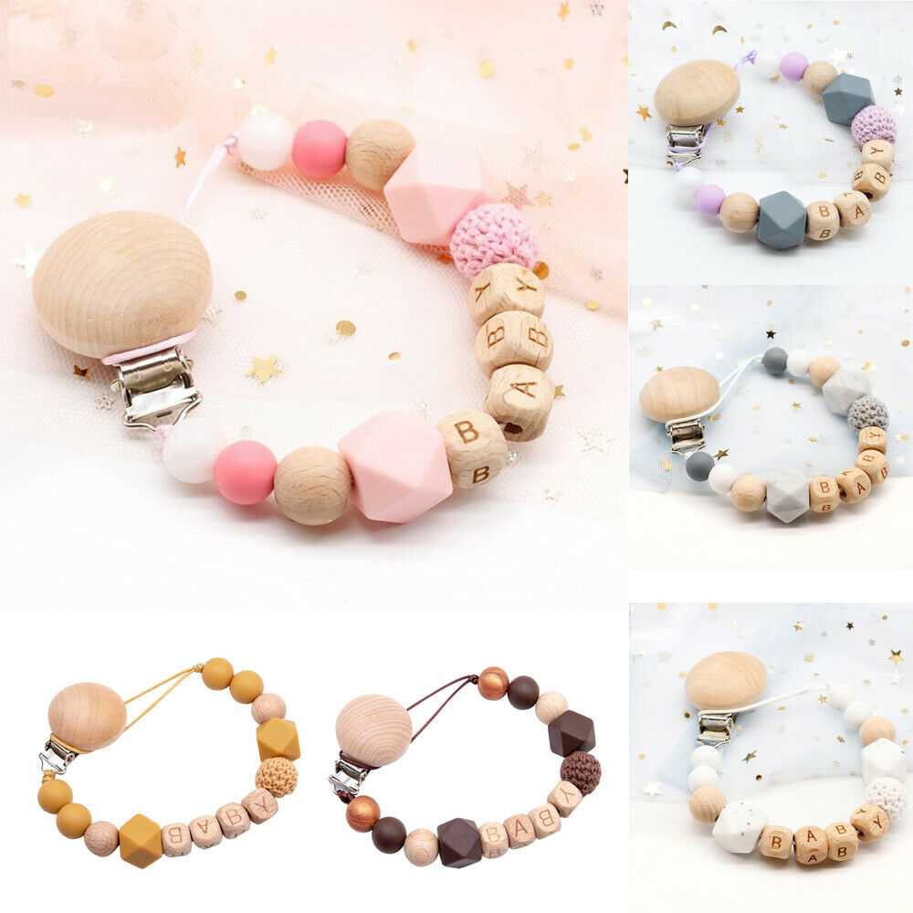 Toddler Baby Silicone Pacifier Teether Chain Teething Clip BPA Free Safe Handmade Wooden Bead Baby Teething Toy