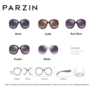 Image 5 - Parzin óculos de sol feminino designer de marca elegante grande quadro polarizado uv 400 senhoras máscaras com caso