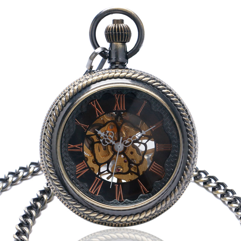 Vintage Steampunk Bronze/Black Hnad Winding Mechanical Pocket Watch for Men Women Pendant Fob Chain Skeleton Reloj De Bolsillo steampunk mechanical silver black mental flower cover pocket watch chain women men watches free shipping p837 8c