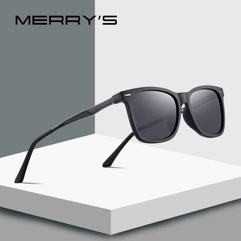 27a9046829 MERRY S DESIGN Men Square Polarized Sunglasses Male Eyewear Aviation Aluminum  Legs UV400 Protection S 8130