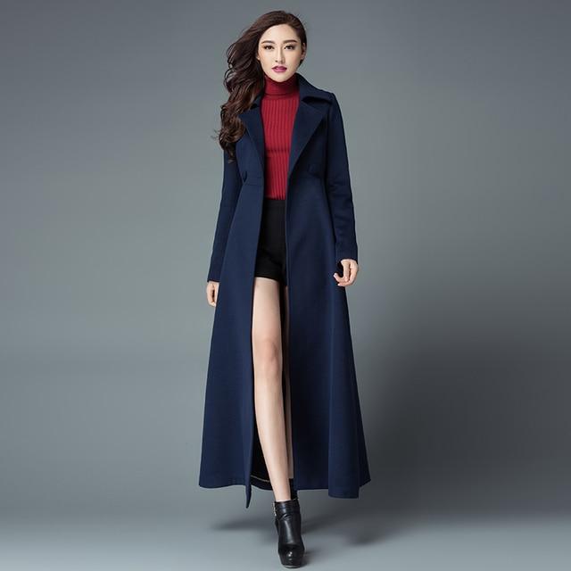 c527a4c0405 Europe fall winter women winter coat fashion long wool cashmere coats slim  woollen coat women