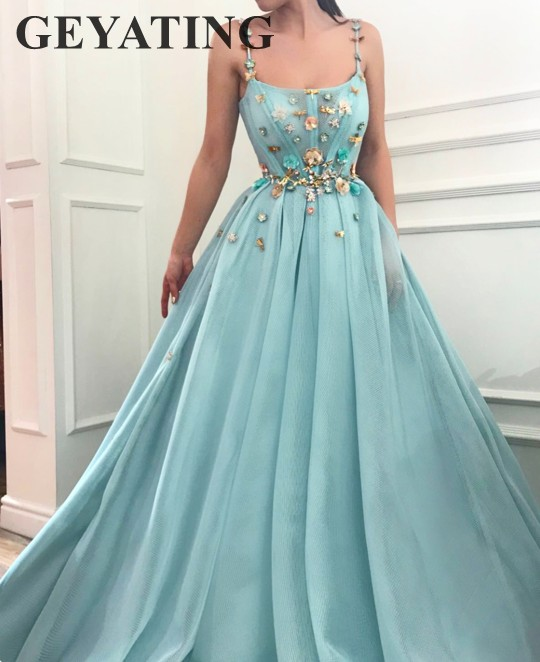 Light Sky Blue Spaghetti Straps Long   Prom     Dresses   2018 Elegant Square Neck A-line Tulle Sequined 3D Flowers Sweet 16 Party   Dress