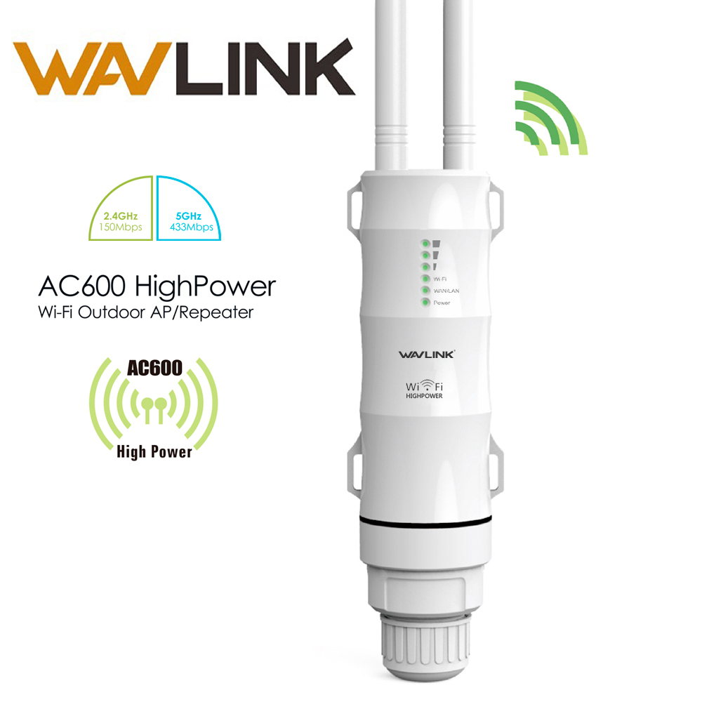 Wavlink AC600 27dBm alta potencia al aire libre Wifi repetidor 2.4G150Mbps + 5 GHz 433 Mbps Wireless Wifi Router AP WISP wifi Extender