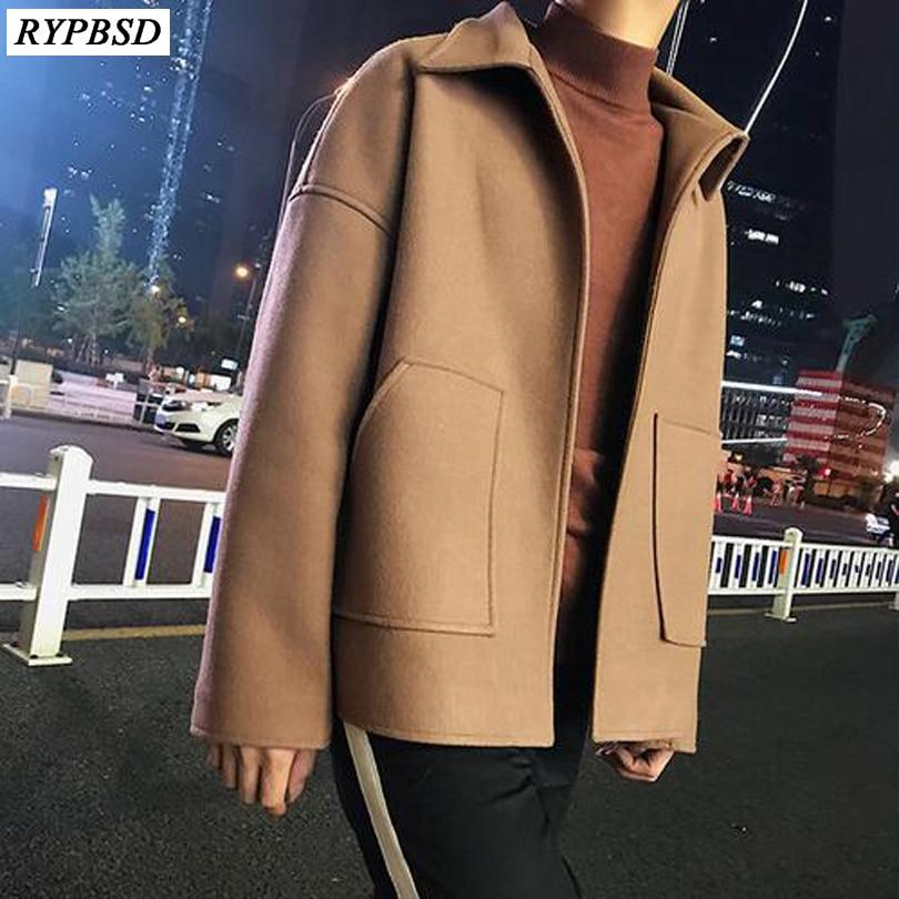 2018 Männer Der Wiederherstellung Revers Kragen Kurze Woolen Streetwear Marke Mantel Lose In Warme Mäntel Schwarz/camel Farbe Windjacke M-2xl
