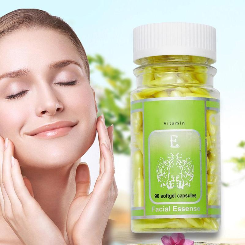 90pcs/bottle Vitamin E Capsules Serum Spot Acne Removing Whitening Cream VE Facial Freckle Capsule