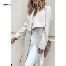 SWYIVY Womens Wool Long Coat Woolen  Ladies Elegant Woman Coats 2019 Winter Female Slim