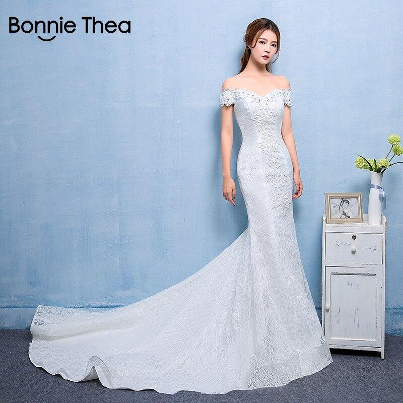 Bonnie Thea Broderie femmes sexy partie Trumpe robe Automne femme Élégante robe Hors de L'épaule longue robe femmes robes