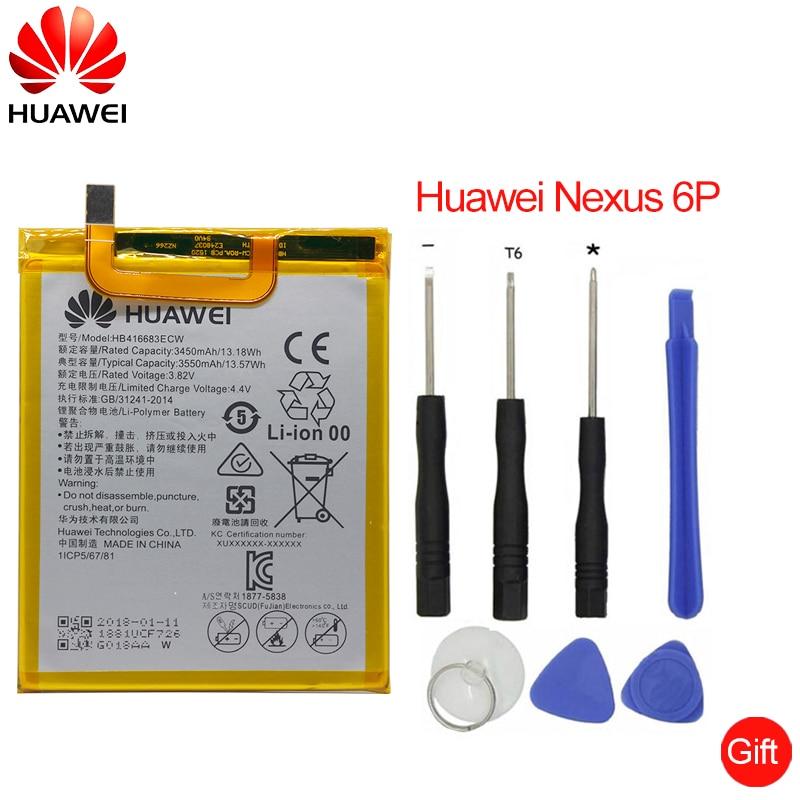 Hua Wei Original teléfono batería HB416683ECW para Huawei Nexus 6 P H1511 H1512 3450 mAh reemplazo Original de la batería herramientas libres