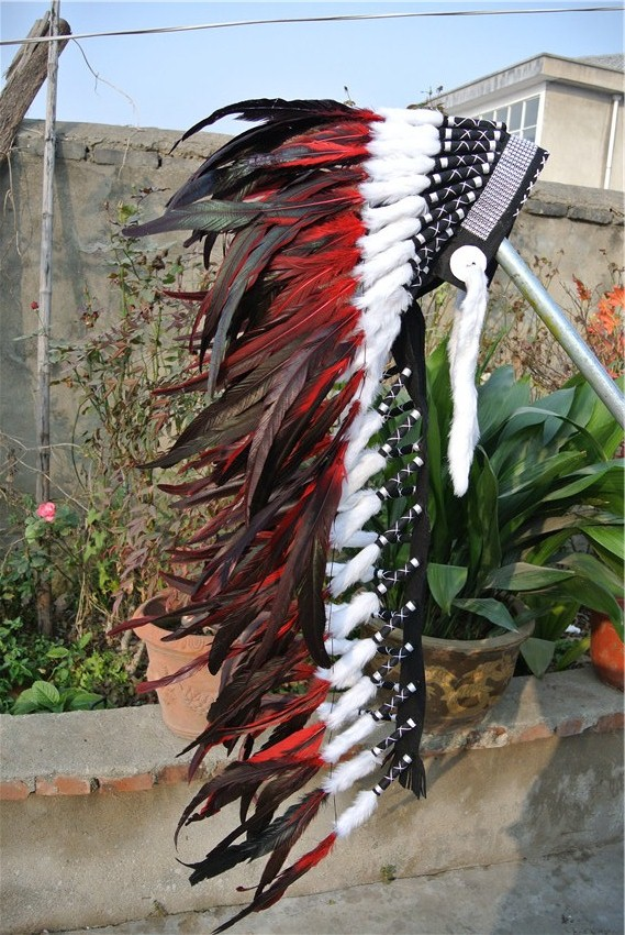 36inch RED feather Headdress headpiece with silver band handmade feather headband-in Feather from Home & Garden    3