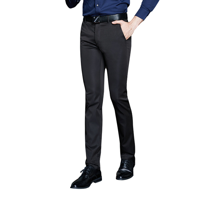 Negro pantalones de viento Británico de los hombres de negocios ocasional otoño 2017 de lujo de alta calidad de los hombres cultivan su moralidad pantalones tamaño 29-40