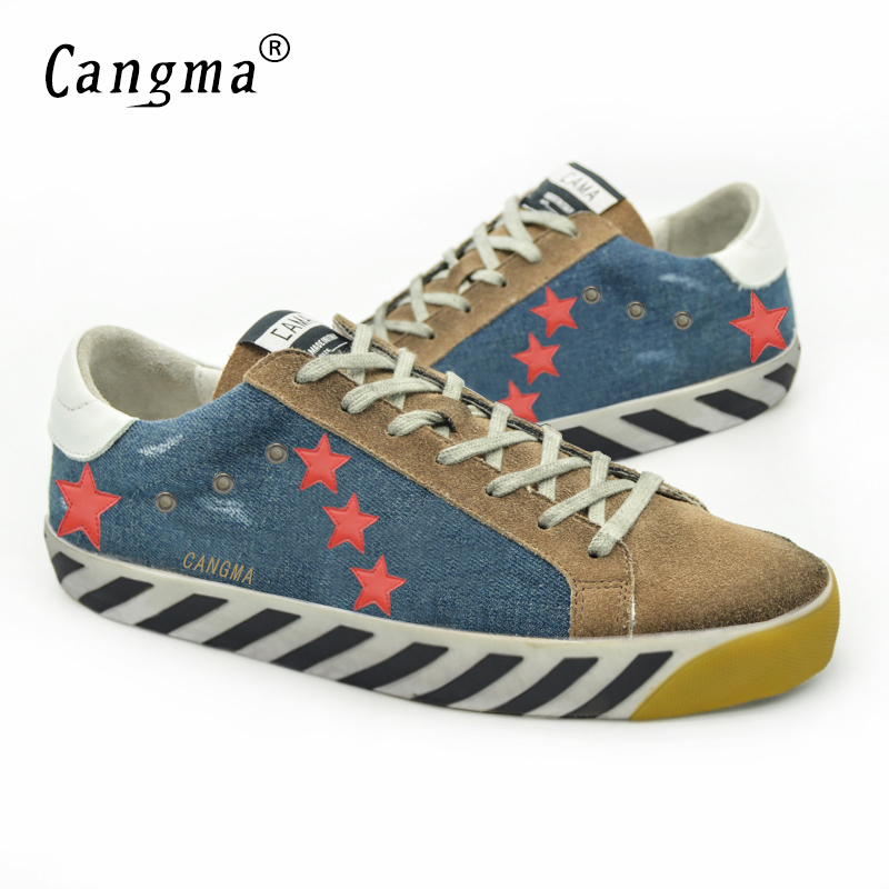 ФОТО CANGMA Donna 2017 Superstar Women Shoes Genuine Leather Canvas Original Woman Casual Patchwork Blue Shoes Schoenen Dames Sapato
