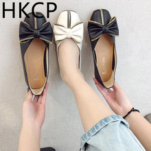 HKCP Square toe flat shoes womens spring 2019 new fashion Korean version go with bow ladle C069