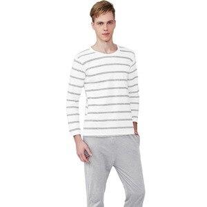 Image 3 - Pajama Set Cotton Gray Striped O neck Sleepwear Couple Home Clothes Plus Size High Quality Male Underwear Set 2020