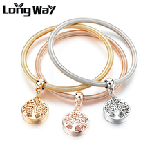 LongWay 3 PCS/Set Gold Color Tree Of Life Charm bracelets & bangles Round Crystal Bracelets For Women Jewelry Femme SBR160104
