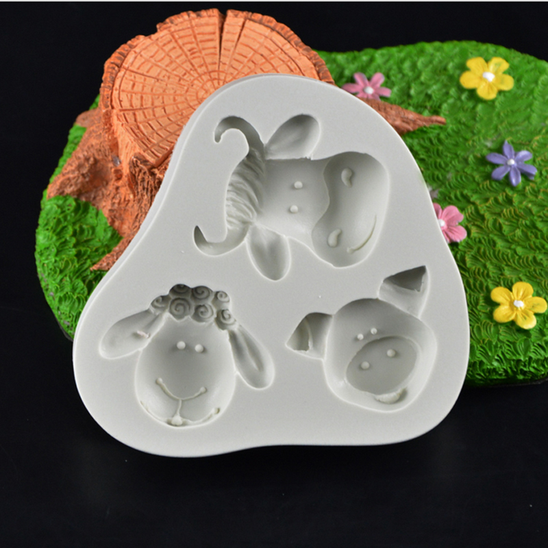 2016 New!Animal Sheep Pig Cow Head silicone fondant mold