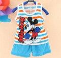 Caliente nueva ropa infantil de verano de algodón sin mangas de la historieta 2 unidades set ropa para niños set niños juego de las muchachas fijó