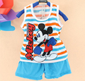 Hot new summer children's clothing cotton cartoon sleeveless 2 pieces set child clothing set boys suit girls set