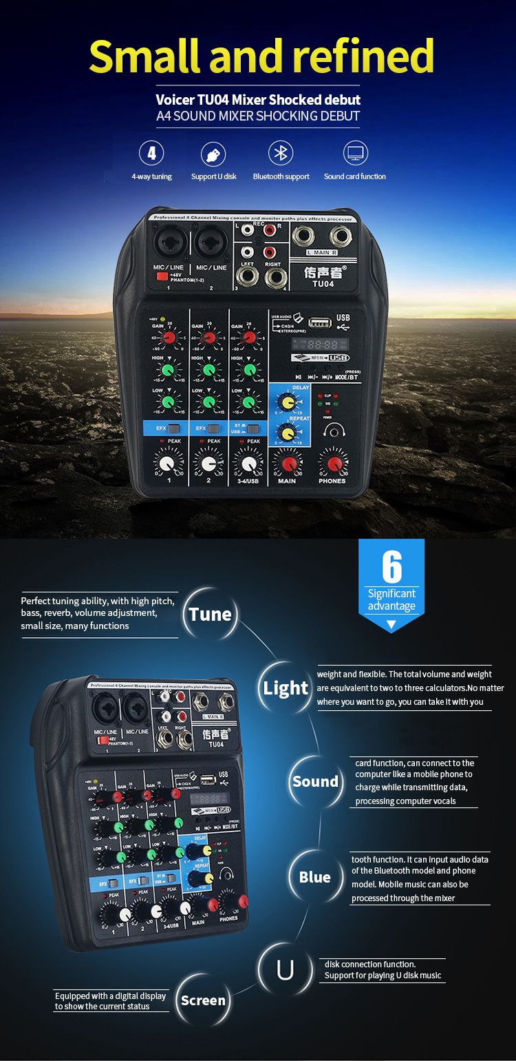 US $41 17 28% OFF Aister TU04 mixer with Bluetooth USB and sound card  function mixer for recording voice activated radio network anchoring-in