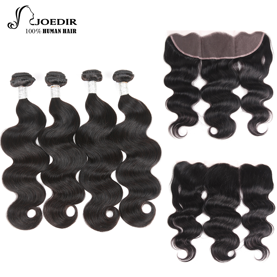 Joedir Peruvian Body Wave Hair with Frontal 4 Bundles Human Hair Weave Non Remy Lace Frontal Closure with Bundles Free Shipping