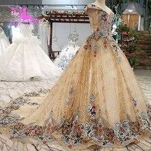 AIJINGYUชุดแต่งงานSaudi Arabia Gowns Lustrousซาตินราคาถูกใกล้Meลูกไม้ลูกไม้ชุดดูไบชุดแต่งงานใหม่2021 2020