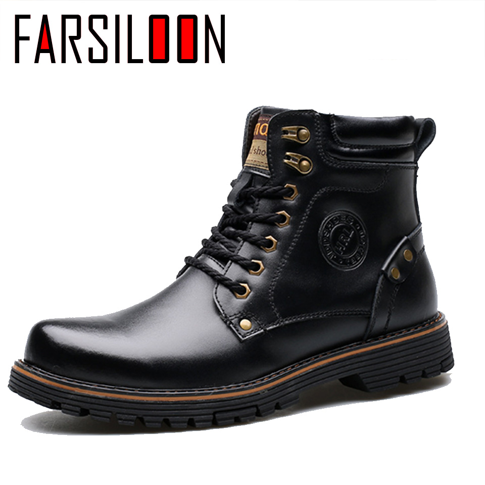 Men's Leather Warm Comfortable Waterproof Boots Men's Boots Round Head Boots Warm Lace Up Solid Rome Men Shoes JLL028