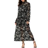 Muslim Long Dress Robes Arab Middle Eastern Women Chiffon Dress Islamic Clothing