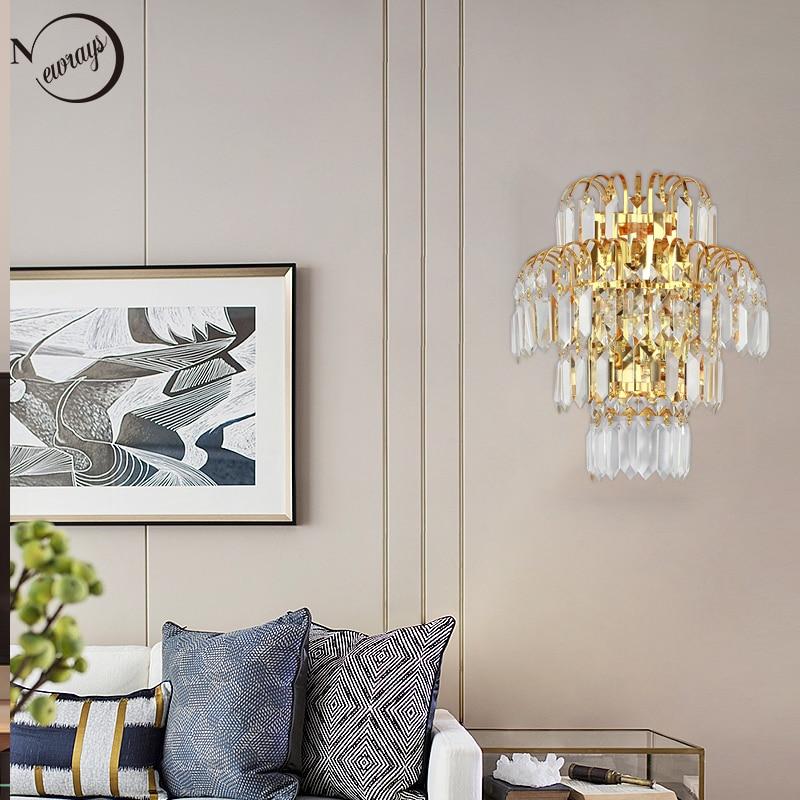 цена на Modern plated crystal wall lamp E14 LED 220V Multiple styles novelty wall lights for living room bedroom restaurant hallway cafe