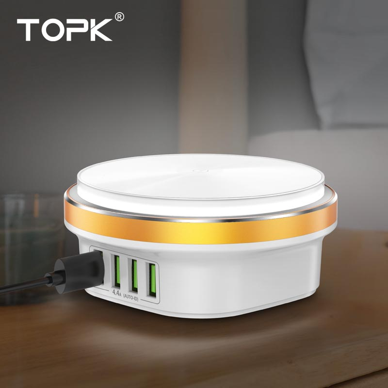 TOPK Desk-Lamp Usb-Charger 4-Port Xiaomi Smart iPhone Samsung for LED Dimmable Auto-Id