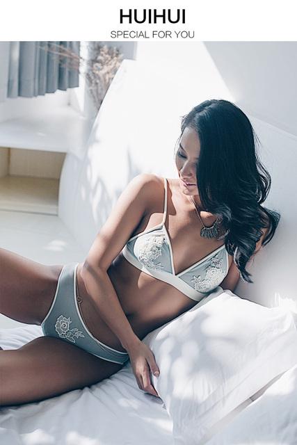 2017 New Women's autumn wireless bra sexy lace embroidery ultra-thin breathable bra plus size underwear set
