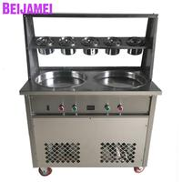 BEIJAMEI Double Round Pan 5 Buckets Fried Ice Cream Roll Machine 110v 220v Commercial Flat Pan Thailand Fry Ice Maker