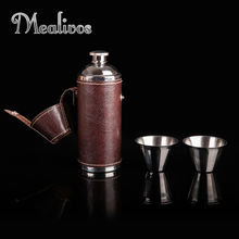 Hot Sale Flask Trustworthy  1pc 8 oz Stainless Steel 2ps glass Vodka Hip drinkware Bottle gifts Personality wine box set