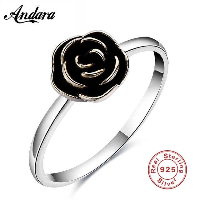 925 Sterling Argent Anneaux Vintage Rose Bague Fleur Nouvelle Mode