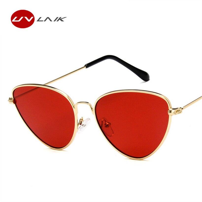 UVLAIK nuevo peso ligero gato ojo gafas de sol mujer Retro Cateye Sunglass Metal rojo rosa amarillo tintado lente UV400