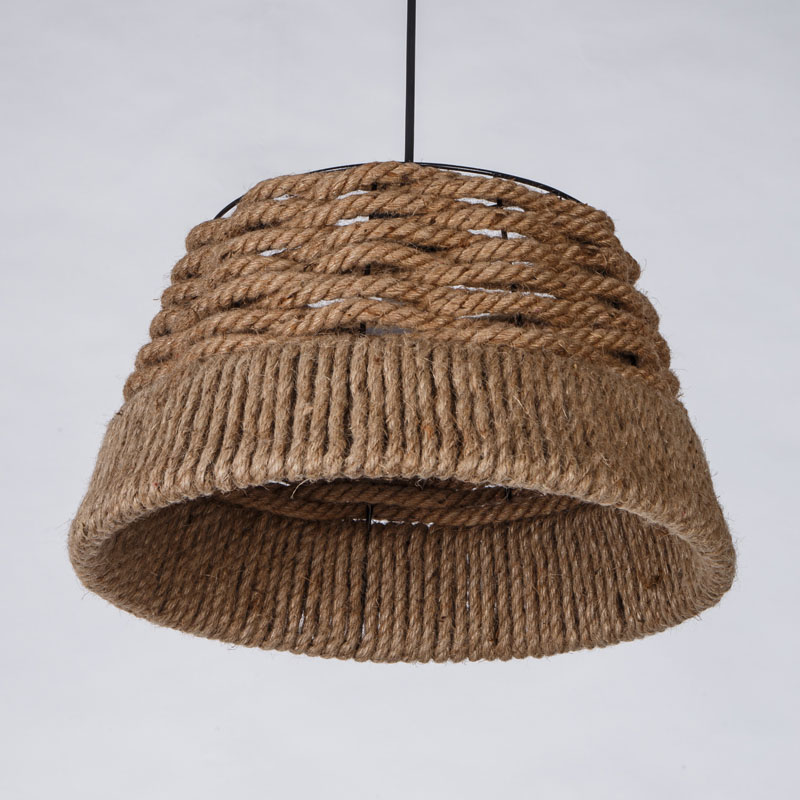 The Nordic LOFT American Country Retro Hand Woven Rope Hanging Light Drum Shaded Suspension Lamp Bar Coffee Hall Chandelier P486 american style gun hanging rope khaki