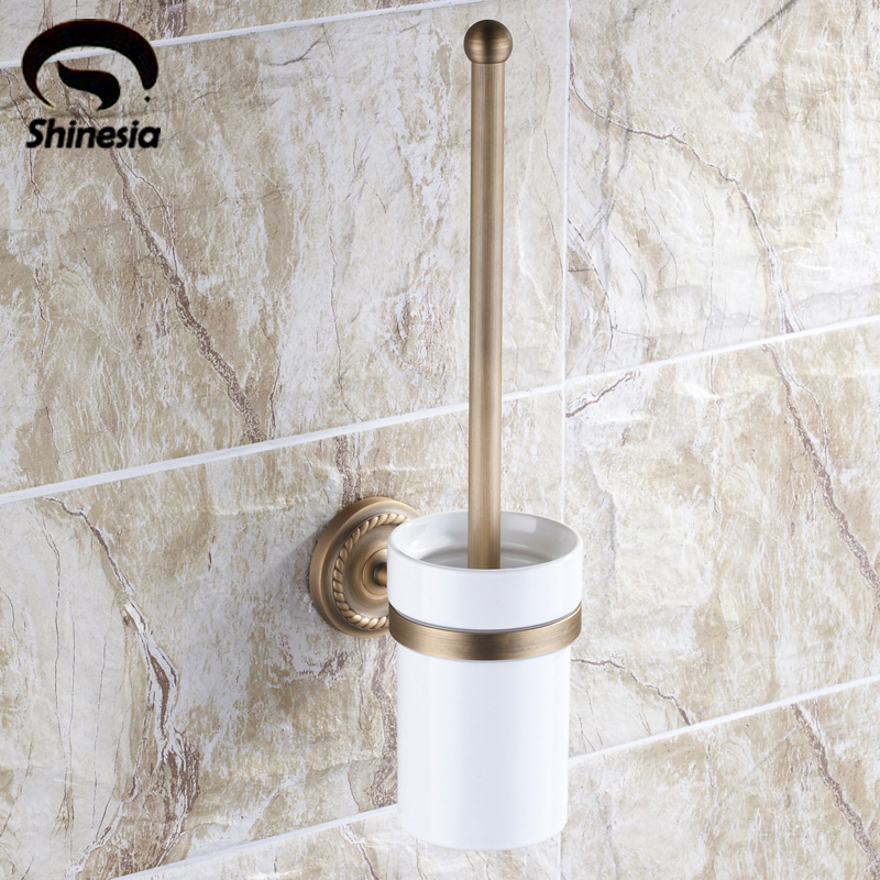 Free shipping Wholesale And Retail Euro Stylish Antique Brass Toilet Brush Holder With Ceramic Cup Wall Mount Cleaning Brush Set ethnic style tribal print elastic waist skirt for women