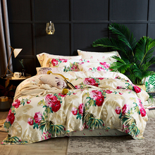 Dropshipping Egyptian cotton red flowers Sheet Pillowcase Duvet cover sets 4pcs bedclothes set bedding