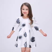 2016 New Girls Printing Princess 3/4 Sleeve Dress Kids Baby Children's Party Ball Gown Vestido De Festa For 3-10Y C315(China)