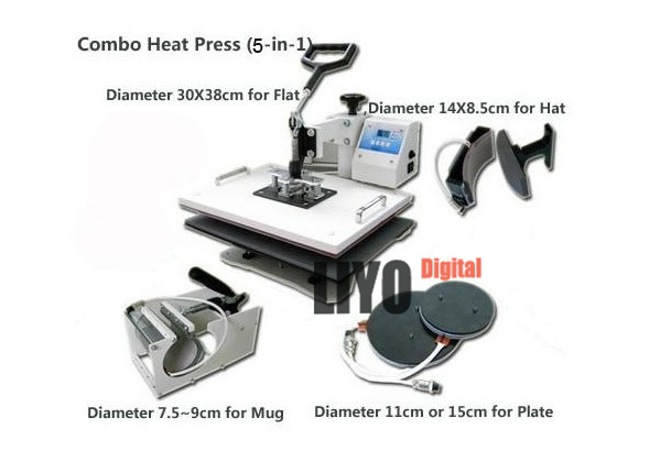 Heat Press Machine 5 in 1 T Shirt Mug Hat Cap Sublimation printing Transfer printing machine mug change color