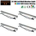 Nova função 4 pçs/lote 4em1 24x4 w rgbw led wall washer luz ao ar livre led barra de luz dmx modo, led luz do estágio rgbw 90 v-240 v