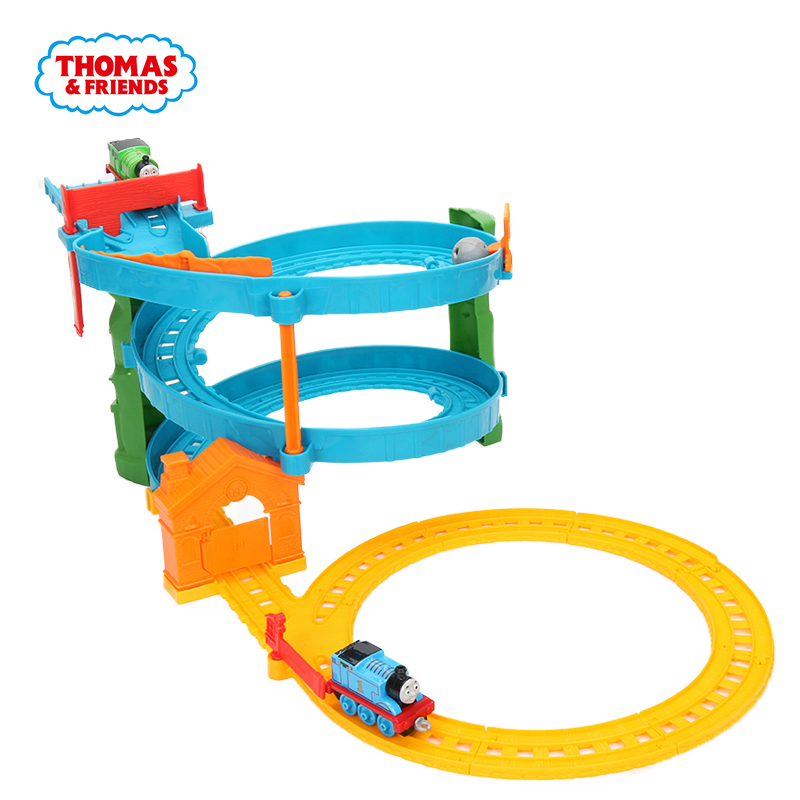 Thomas & Friends THOMAS & PERCY'S RACEWAY Diecast Metal Engine Playset Collectible Railway Toy Wooden Train Toys for Kids BHR97