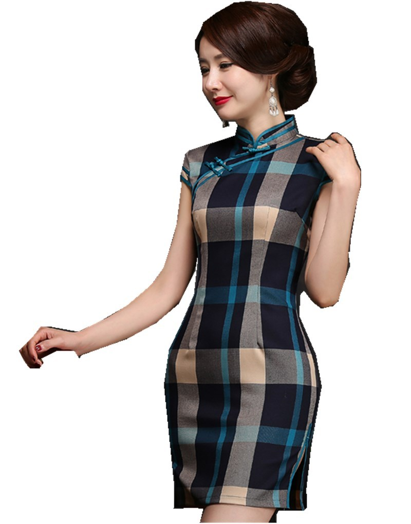 Professional Sale Shanghai Story 2019 Plaid Cheongsam Lattice Qipao Traditional Chinese Dress Oriental Dress Chinese Qipao For Women Party Dress Preventing Hairs From Graying And Helpful To Retain Complexion