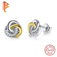 BELAWANG Fashion Jewelry 925 Sterling Silver Gold Color Knot Stud Earrings For Woman Double Color Push