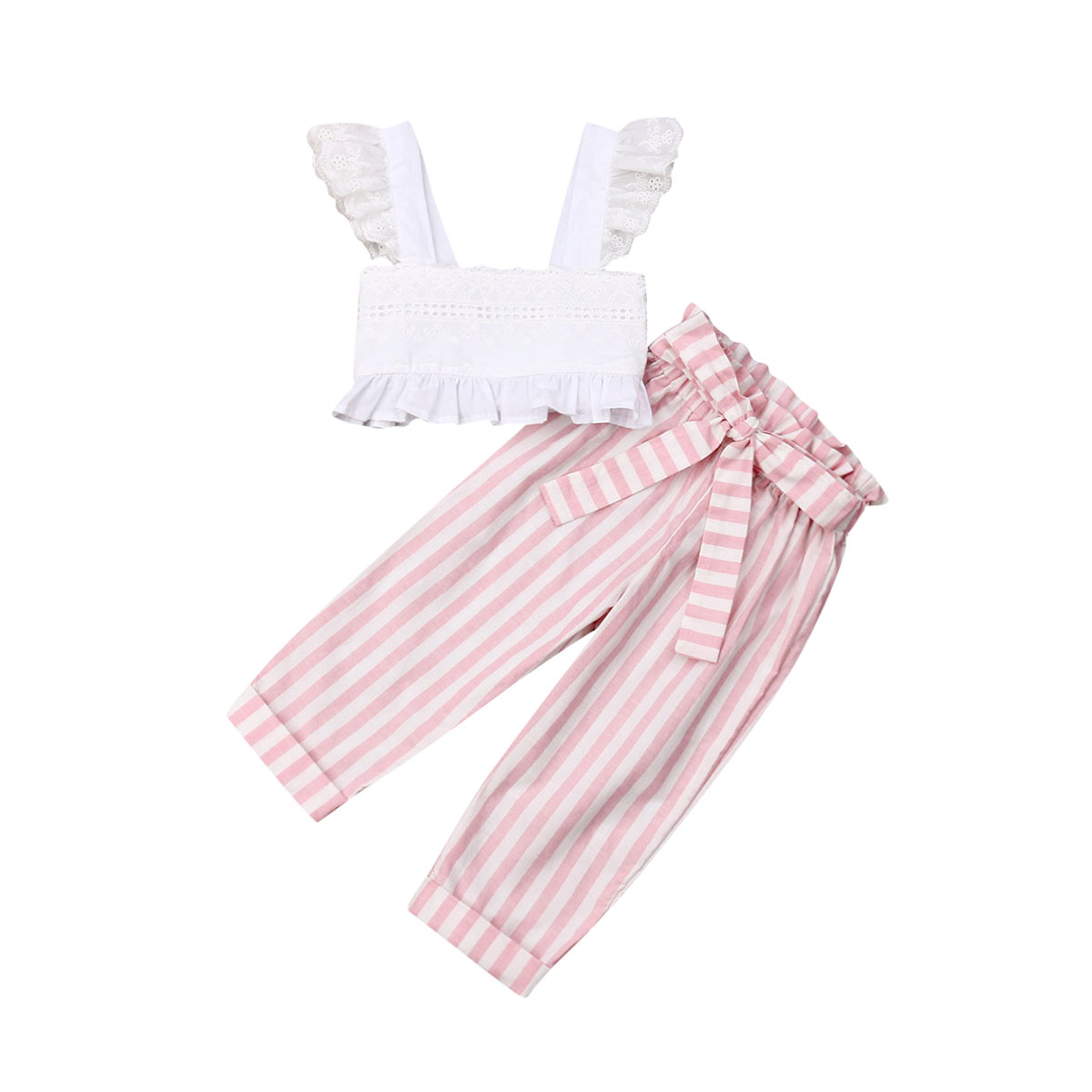 2pcs/set Toddler Kid Girls Clothing Set Summer Whtie Ruffles Vest T Shirts + Striped Pants Outfits Kid Girls Costumes