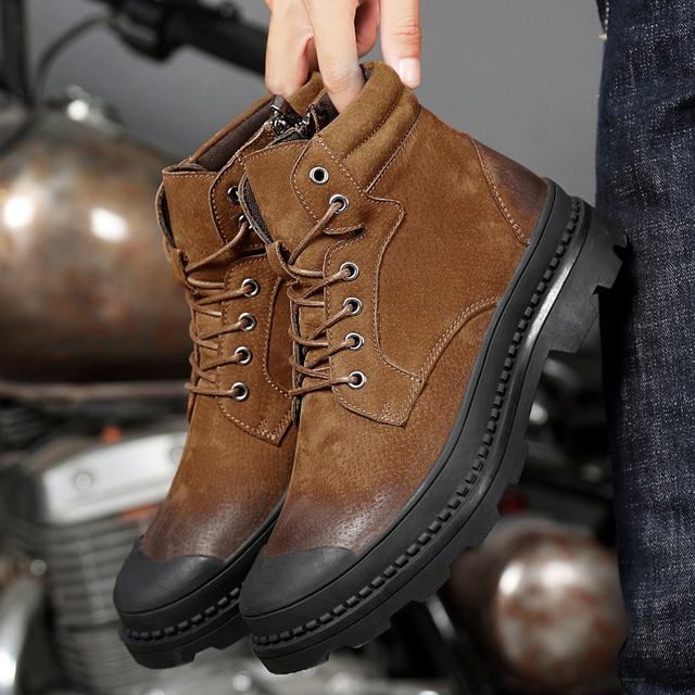Boots Men Warm Winter Leather Motorcyxle Boot Shoes for Men Casual Flats Lace-Up Autumn Work Tooling Boots Military Mens Shoes 3