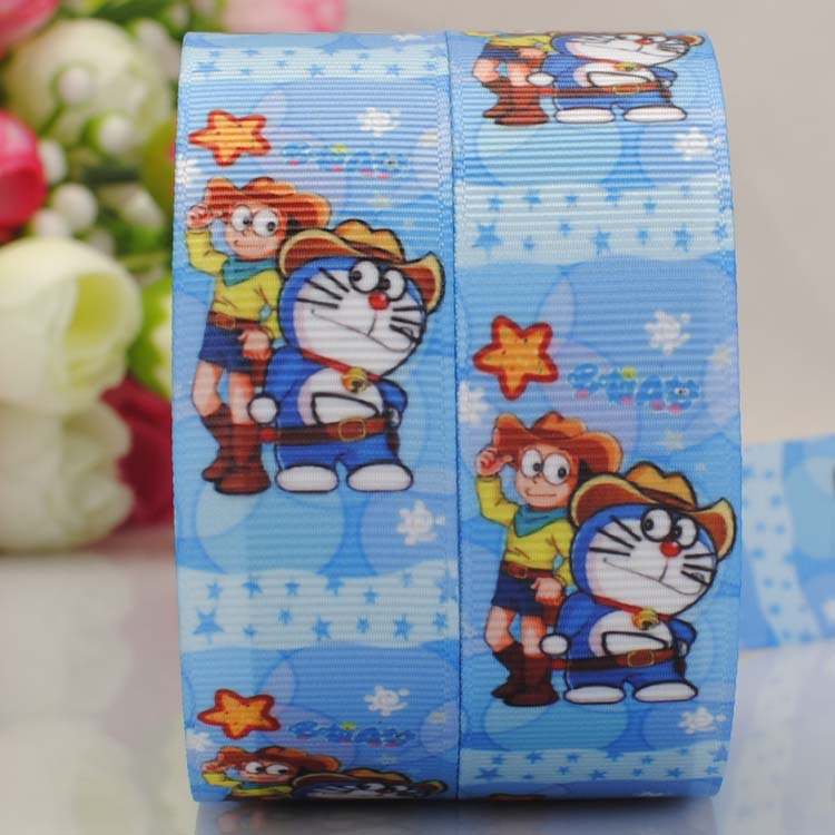 50 yards 1  25 mm cool doraemon pattern print grosgrain tape cartoon ribbon party decoration gift