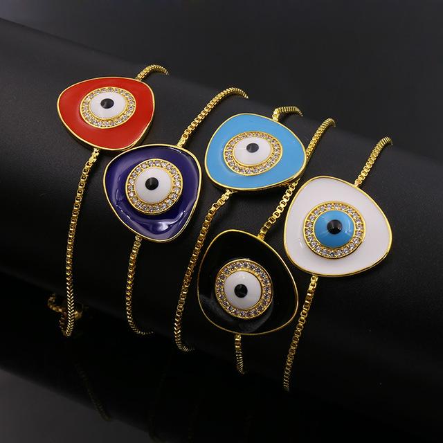 El mal de ojo brazalete de piedra de nacimiento exquisito triángulo geometría gotas para los ojos de aceite en el cobre de color Pulsera Del Estiramiento
