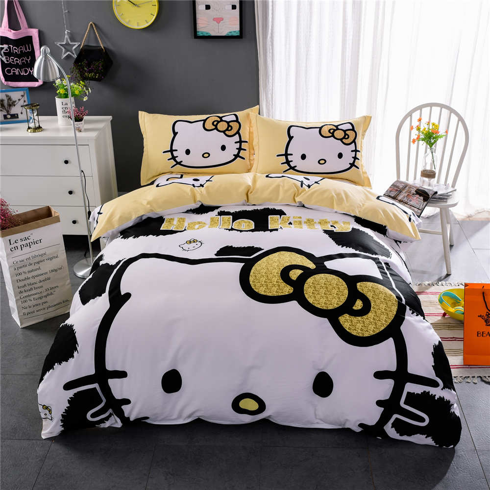 Black hello kitty bedding - Yellow Black Hello Kitty Bedding Sets Bedspreads Girl S Childrens Quilt Duvet Cover 500tc Woven Cotton Twin Full Queen King Size