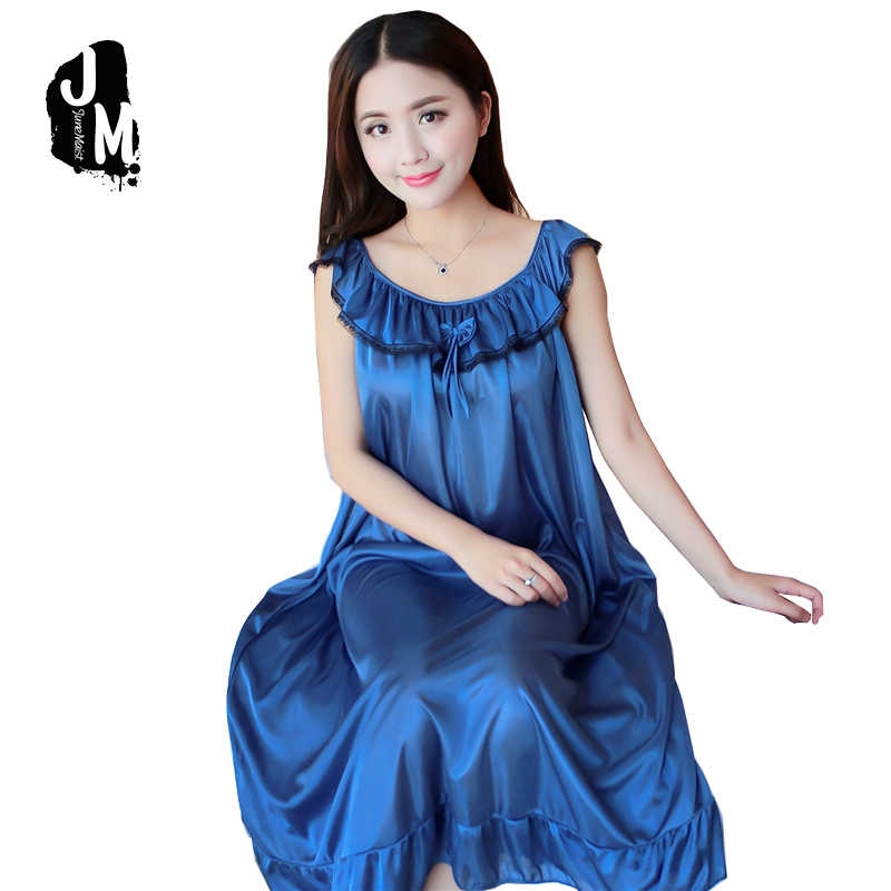 3d2e4250b7 2018 Summer Nightgown sexy sleeveless Night dress women Plus size XXXXL Lace  and silk Nightgowns sleepwear