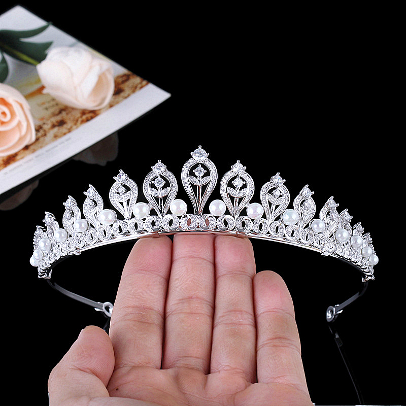 Micro Paved Cubic Zircon Pearl Tiara Phoenix Full Zirconia Crown Wedding Hair Accessories Bridal Jewelry CZ Coroa Novia WIGO1261